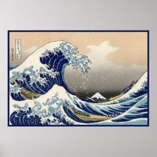 Grande vague nautique de Kanagawa du mont Fuji Posters