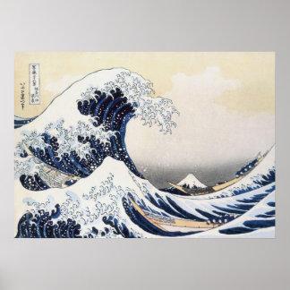 Grande vague outre de Kanagawa par Hokusai Affiches