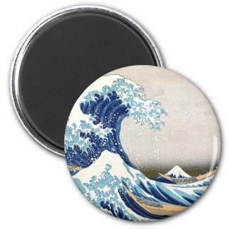 Grande vague outre des beaux-arts de Kanagawa Magnet Rond 8 Cm