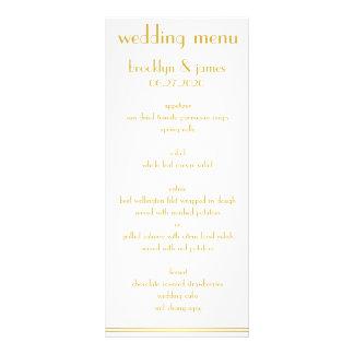 Grandes cartes blanches et d'or de menu de mariage
