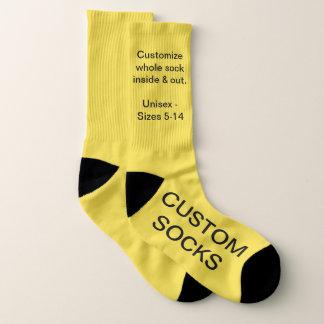 Grandes chaussettes jaunes personnalisables faites