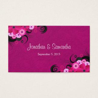 Grandes étiquettes florales fuchsia légères de cartes de visite