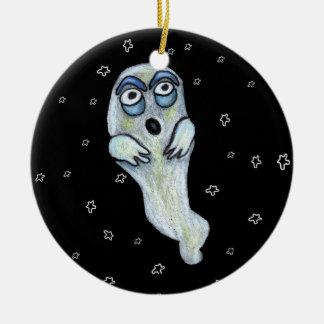 Grandes étoiles de yeux de fantôme maladroit idiot ornement rond en céramique