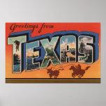 Grandes scènes de lettre du Texas (cowboy Roping T Poster