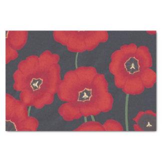 Grandes tulipes rouges sur le papier de soie de
