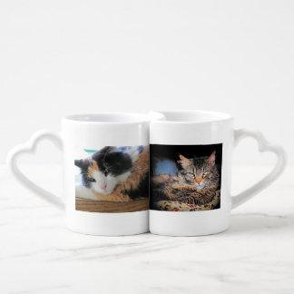 Grands couples de chat de papa de maman chaude set tasses duo