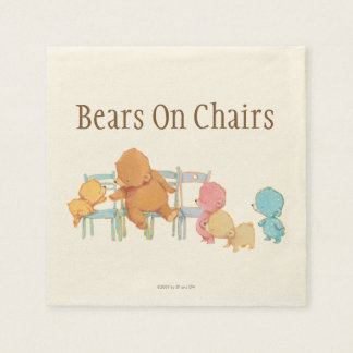 Grands ours de Brown et chaises de la part quatre Serviette Jetable
