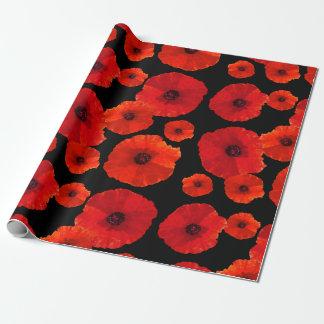 Grands pavots rouges sur le noir papier cadeau
