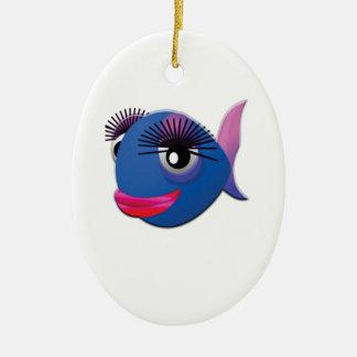 grands poissons bleus de lèvres ornement ovale en céramique