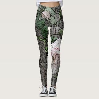 Grands roses sur le bois leggings