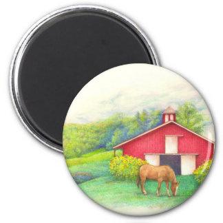 Grange illustrée avec le cheval aimant