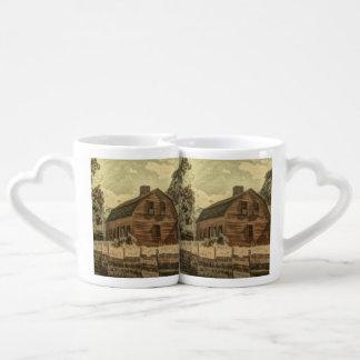 Grange rouge chic de ferme rustique de pays mug