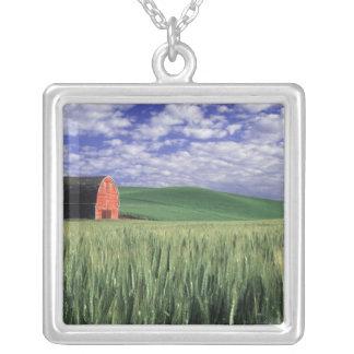 Grange rouge dans le domaine de blé et d'orge en collier