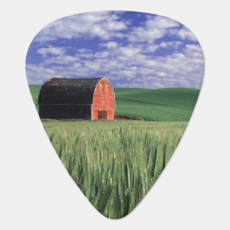 Grange rouge dans le domaine de blé et d'orge en médiators