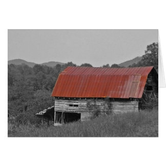 grange rouge de toit cartes de vœux