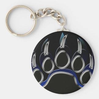 Graphique bleu noir en acier de patte d'ours gris porte-clef