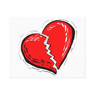 graphique de rouge du coeur brisé toile tendue