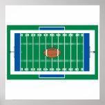 graphique de terrain de football de fer de grille posters
