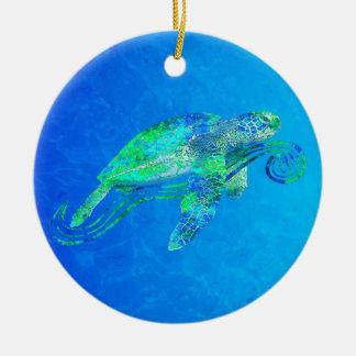 Graphique de tortue de mer ornement rond en céramique