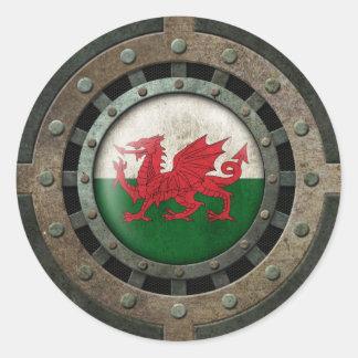 Graphique en acier industriel de disque de drapeau sticker rond