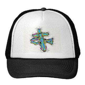 Graphique en verre souillé de la croix et des casquettes