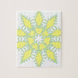 Graphique jaune d'icône de flocon de neige sur le puzzle