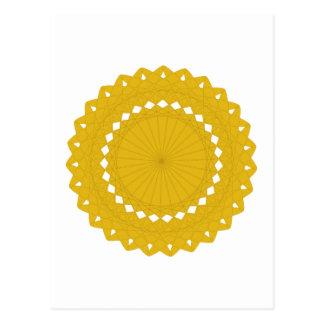 Graphique rond jaune de moutarde carte postale