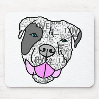 Graphique unique et élégant d'amour de pitbull tapis de souris
