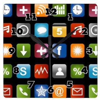 Graphiques d'icône du vecteur $$etAPP d'amusement Horloge Carrée