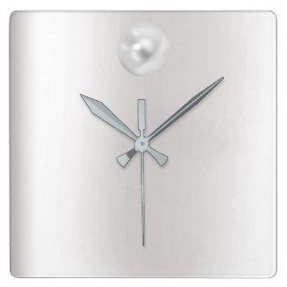 Graphite argenté gris minimal de perle de VIP Horloge Carrée
