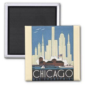 Gratte-ciel vintage d'horizon de Chicago Magnet Carré