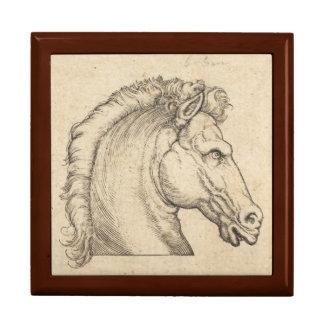 Gravure allemande antique de tête de cheval grande boîte à bijoux carrée