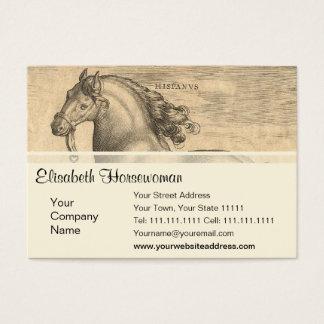 Gravure antique élégante de cheval espagnol cartes de visite