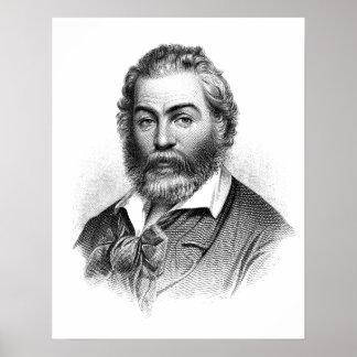 Gravure de gravure sur bois en Walt Whitman avant Poster