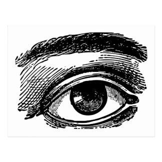 Gravure du bois de grand oeil vintage carte postale
