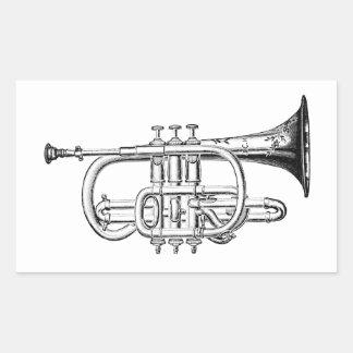 Gravure du bois de trompette vintage sticker rectangulaire