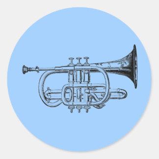 Gravure du bois de trompette vintage sticker rond