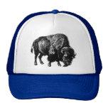 Gravure du bois vintage de bison américain de Buff Casquette