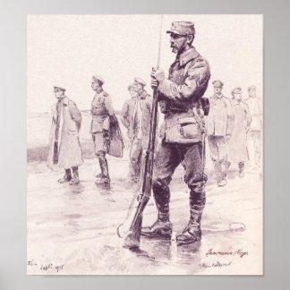Gravure Militaire 1915 28/31cm Posters