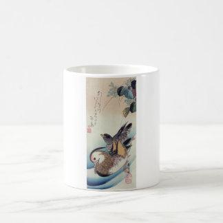 Gravure sur bois en couleur de canards de mandarin mug
