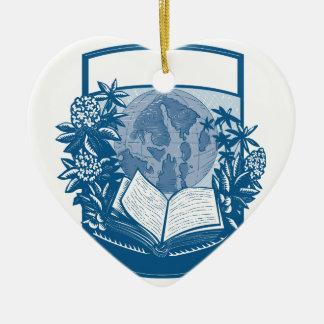 Gravure sur bois en livre d'île d'orques de ornement cœur en céramique