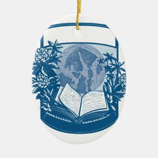 Gravure sur bois en livre d'île d'orques de ornement ovale en céramique