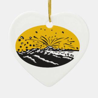 Gravure sur bois en ovale de formation d'île ornement cœur en céramique