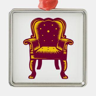 Gravure sur bois grande baroque en chaise de bras ornement carré argenté