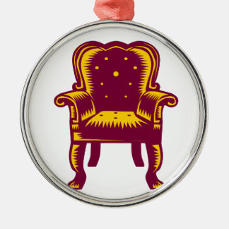 Gravure sur bois grande baroque en chaise de bras ornement rond argenté