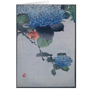 Gravure sur bois japonaise en hortensia bleu avec carte de vœux