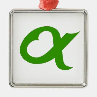 Green Alpheart Ornement Carré Argenté