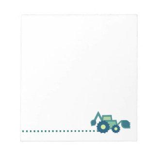 Green backhoe, cute, minimalist, flat design bloc-note