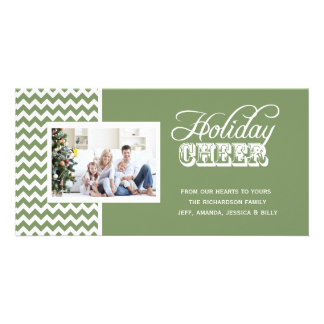 Green Chevron Holiday Cheer Photo Cards