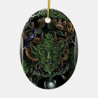 GreenMan~ornament Ornement Ovale En Céramique